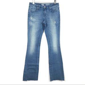 Mossimo Mid Rise Skinny Boot Cut Raw Hem Jeans